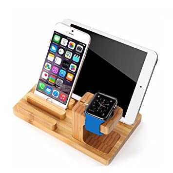 Vinciann stand mesa madera Bamboo Design para Apple Watch iPhone ...