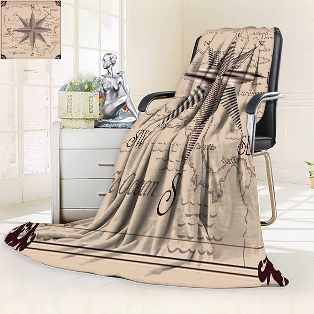 YOYI-HOME Luxury Collection Ultra Soft Plush Vintage Compass and Caribbean Central America map All-Season Throw/Bed Blanket/59 W by 39.5'' H by YOYI-HOME (Image #1)