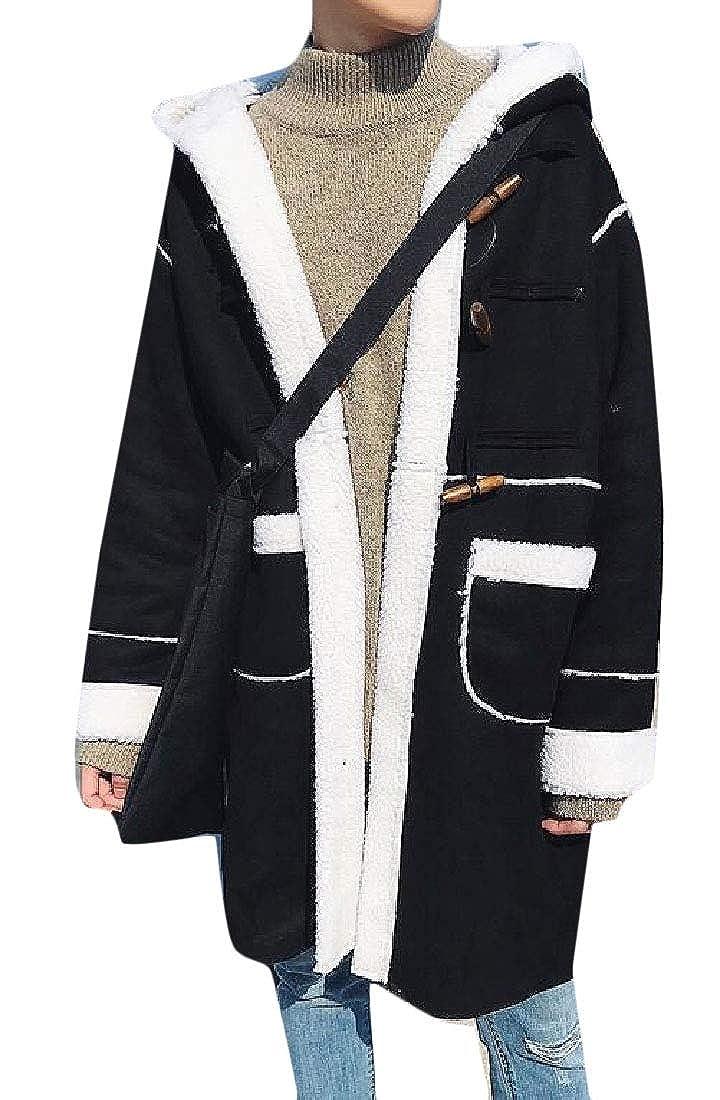 3cd9bf2705 Black desolateness Mens Parkas Casual Windbreaker Fleece Linling Hooded Long-Sleeves  Long-Sleeves Long-Sleeves Jackets 537f57