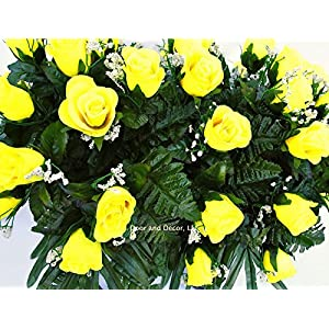 Yellow Roses~Cemetery Arrangement~Graveside Decorations~Headstone Saddle~Saddle Arrangement~Sympathy Flowers~Grave decor~Cemetery Flower Service Subscription Available 4