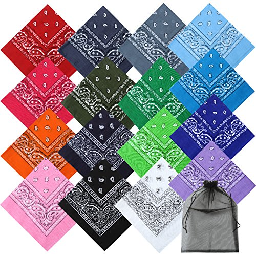 Coobey 16 Colors Cotton Bandanas Paisley Headbands Cowboy Bandana Handkerchiefs for Men and Women (16 Colors) ()
