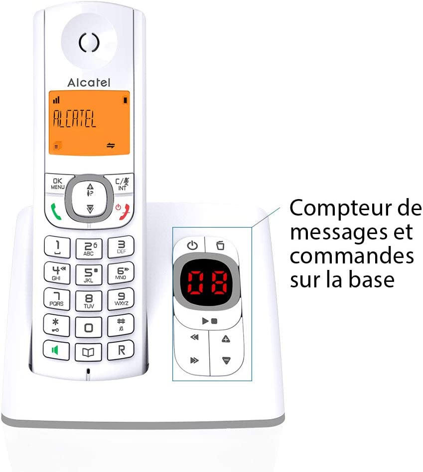 Alcatel F530 - Teléfono (Teléfono DECT, Terminal inalámbrico, Altavoz, 50 entradas, Identificador de Llamadas, Gris, Blanco): Amazon.es: Electrónica