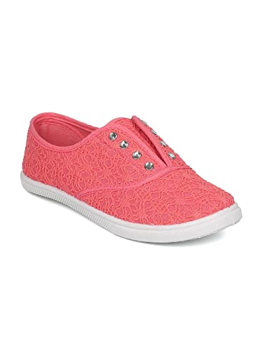 8069cff45b9731 Alrisco Women Lace Fabric Lace Free Rhinestone Slip On Sneaker HD88 - Coral  Mix Media (