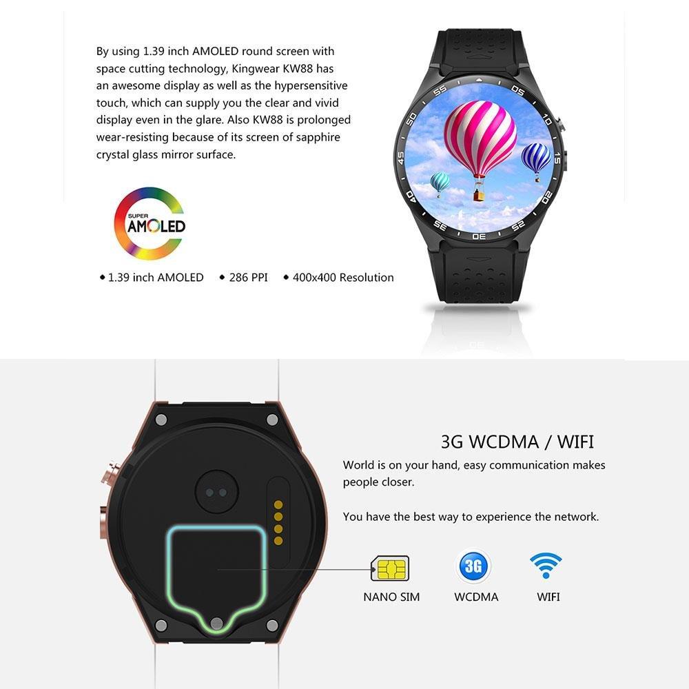 KOBWA KW88 3G WIFI Smartwatch Teléfono Todo en uno Bluetooth Smart Watch con GPS, Cámara, Monitor de Ritmo Cardiaco,Reloj Pulsera Deportiva Compatible con ...