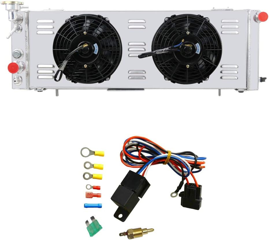 """OzCoolingParts Full Aluminum Radiator + 3 x 9"""" Cooling Electric Fan w/Shroud + Thermostat/Relay Wire Kit for 1991-2001 92 93 94 95 96 97 98 99 00 Jeep Cherokee XJ/Comanche 2.5 4.0, L4 V6 Auto Engine"""