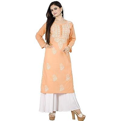 Indian Cotton Women Long Kurta Chikenkari  Tunic Embroidery Ethnic Straight Top