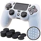 PS4 コントローラー用 ちりばめ シリコン スキン ケース 保護カバー x 1 (クリア ホワイト) 耐衝撃 高品質 + FPS PRO ティック カバー x 8