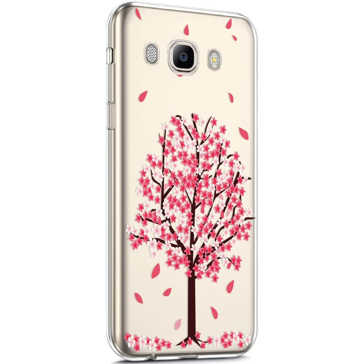 Coque pour Samsung Galaxy J7 2016 Silicone Etui,Uposao Galaxy J7 2016 Coque Transparent avec Motif Fleur Crystal Clear Case Premium Semi Hybrid Ultra Mince Slim Soft TPU Antichoc Bumper,Fleur Rose