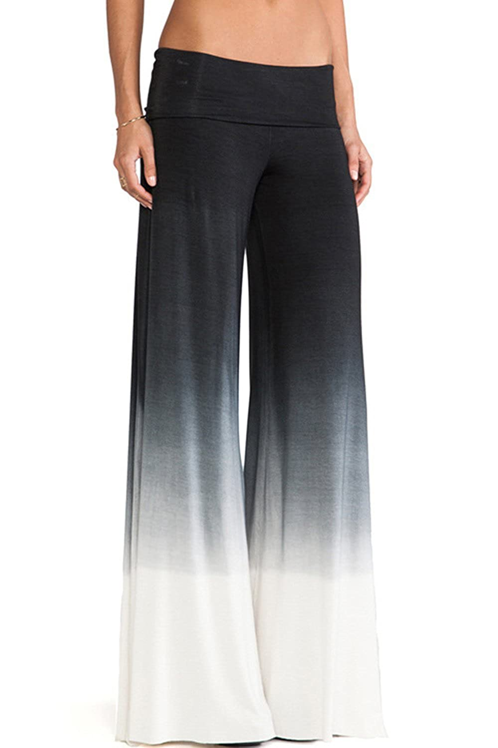 Women's Elegant Colorblock Wide Leg High Fold Over Waist Palazzo Pants
