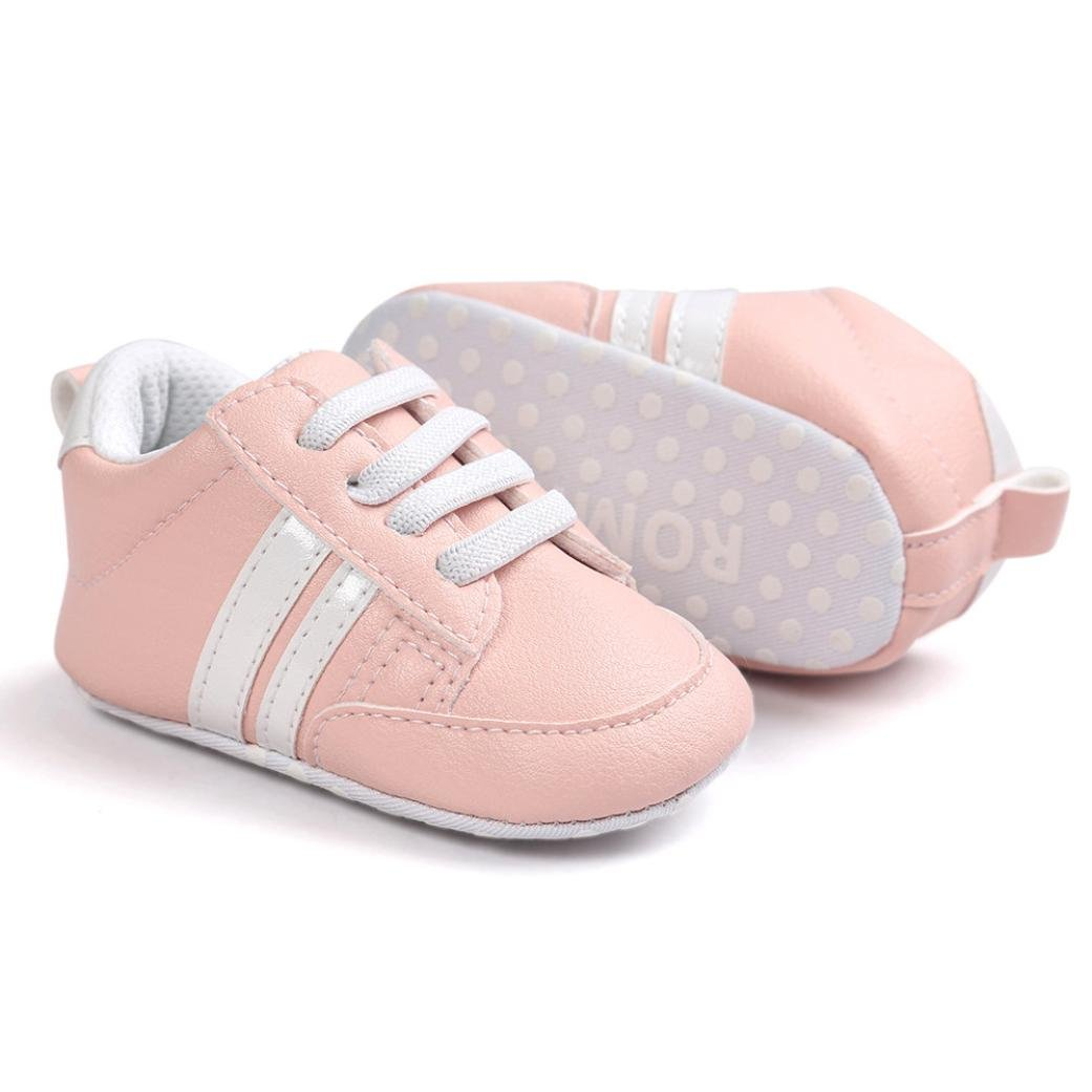 WARMSHOP Baby Shoes Soft Bottom Anti-Skid T-Tied Leather Infant Toddler Sports Casual Shoes