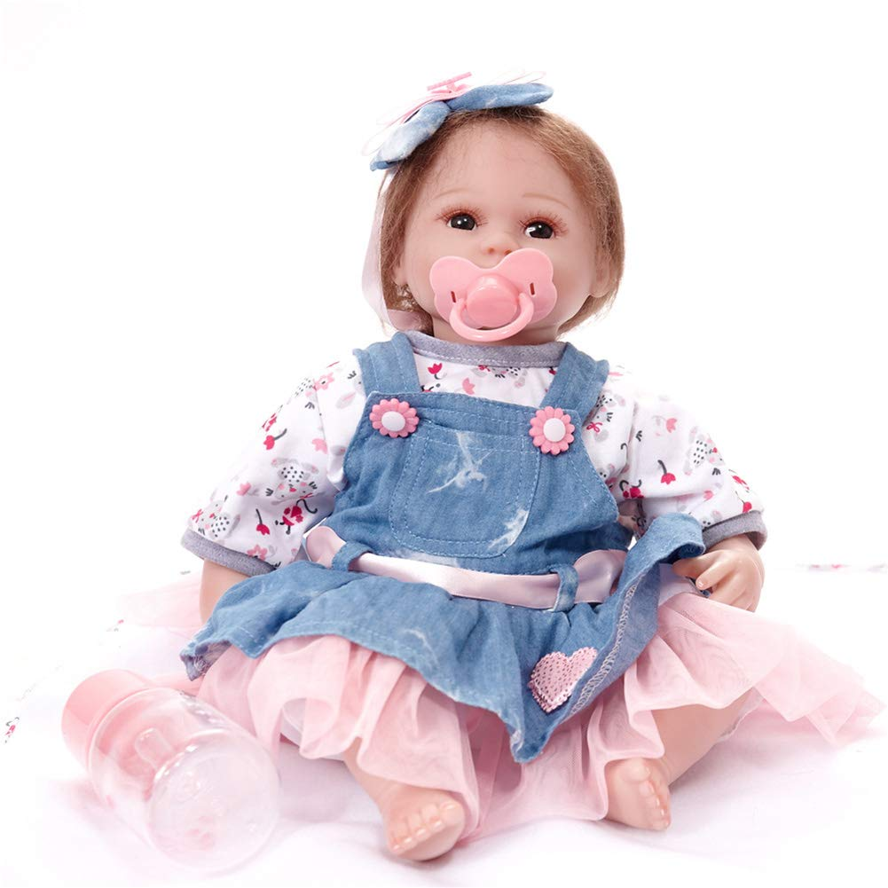 te hará satisfecho ZXKS ZXKS ZXKS Simulación de Silicona Suave bebé 45 cm Renacimiento muñeca Denim Falda Juguetes para niños Regalo de cumpleaños  Mercancía de alta calidad y servicio conveniente y honesto.