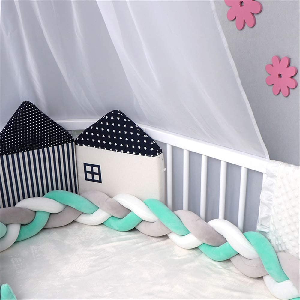 NIUXUAN Baby Crib Bumper Cot Protector Weaving Plush Knot Bed Bumper Kids Room Decor Toddler Cradle Decor Newborn Gift Pillow Cushion Junior Handmade Bed Sleep Bumper 1m, White-Pink-Green