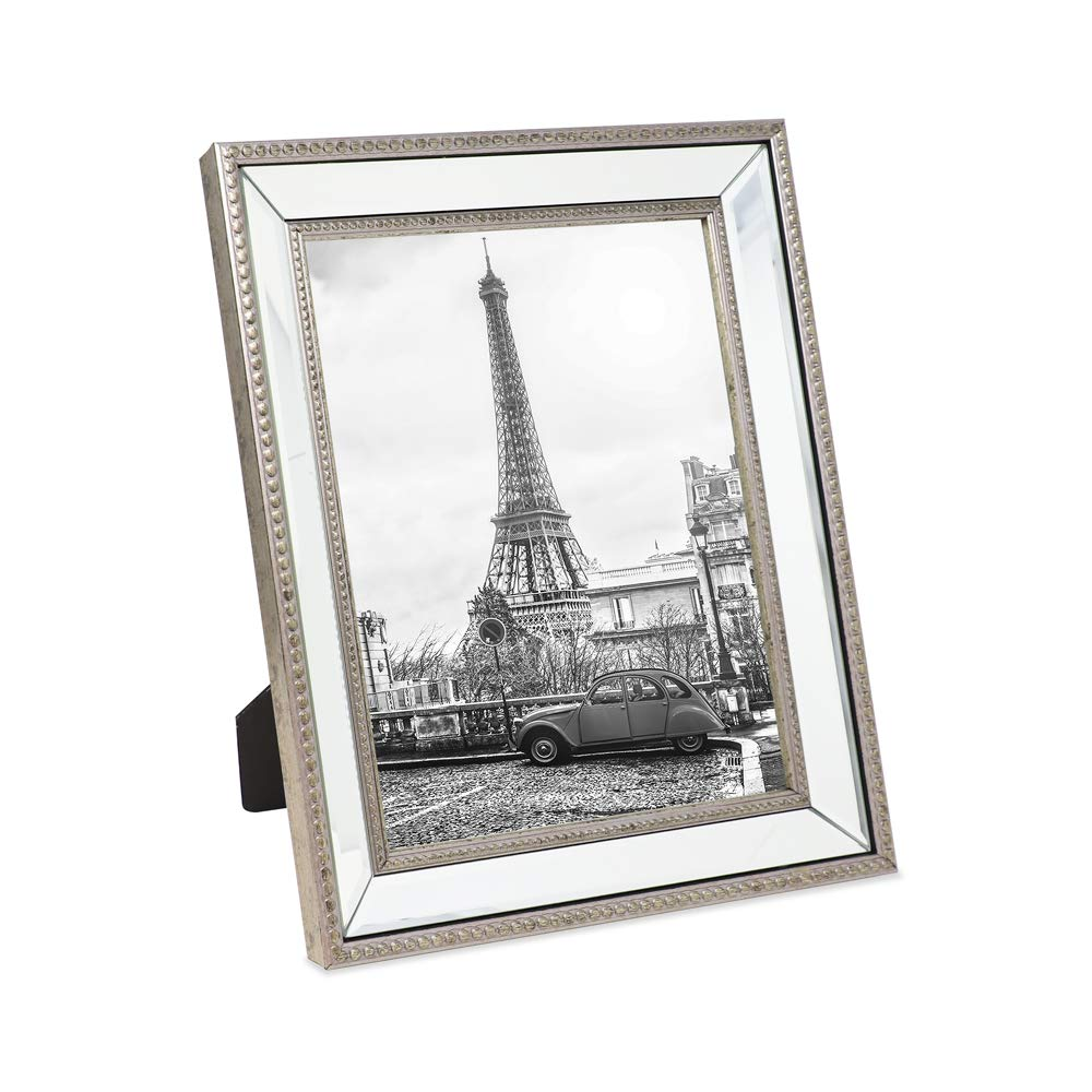 Isaac Jacobs 8x10 Champagne Mirror Bead Picture Frame - Classic Mirrored Frame with Dotted Border Made for Wall Display, Tabletop, Photo Gallery and Wall Art (8x10, Champagne) by Isaac Jacobs International