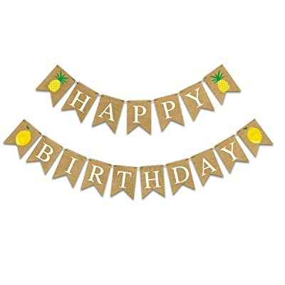 Alphabet Happy Birthday Burlap Banner for Birthday Party Decoration│ Pineapple Lemon Birthday Party Banner (White Alphabet): Toys & Games [5Bkhe2007105]