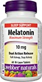 Webber Naturals Melatonin, Maximum Strength, Dual Action, Timed Release, 10 Mg, 60-Count