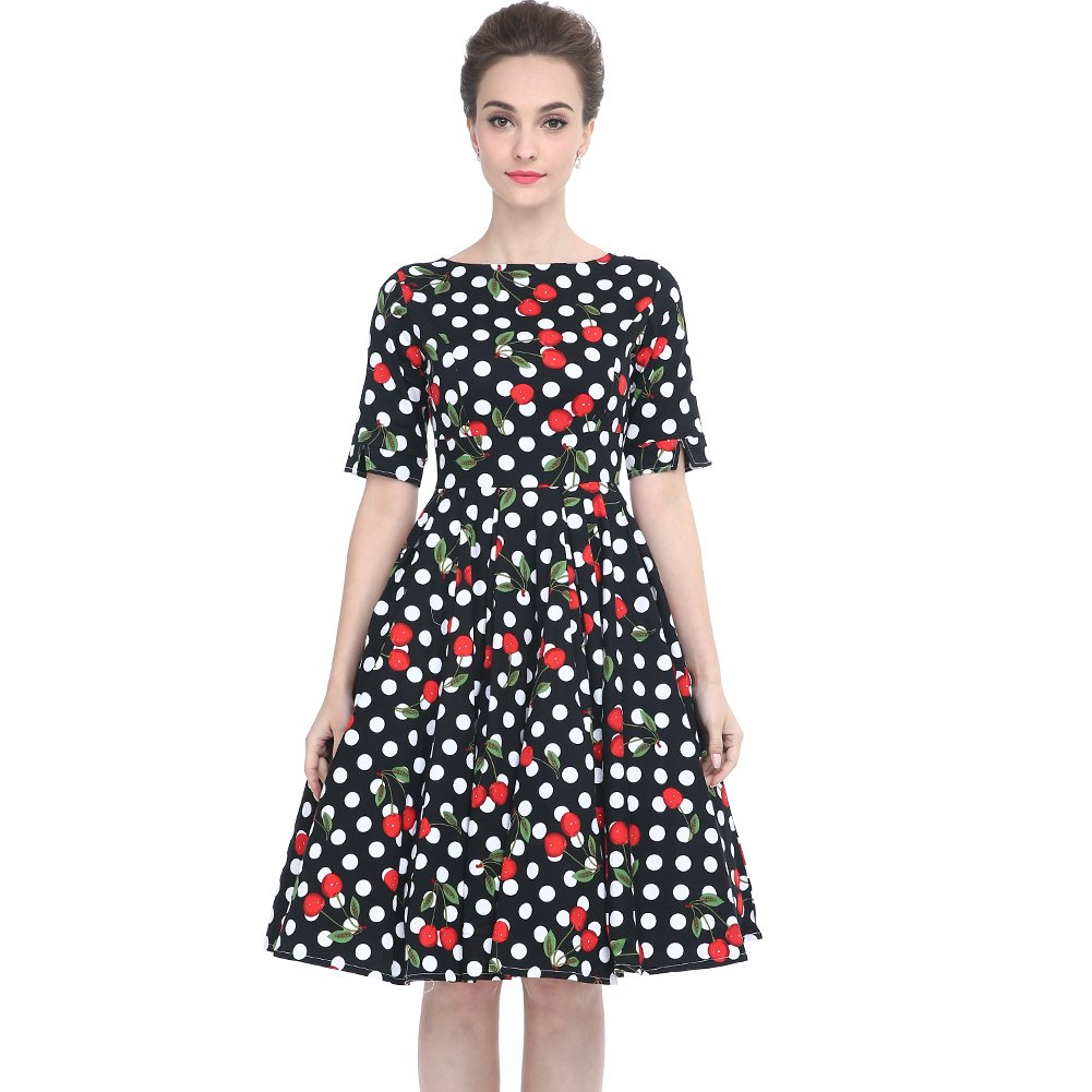 Heroecol DRESS レディース B075S523LT XL|Cherry With Black White Polka Dots Cherry With Black White Polka Dots XL
