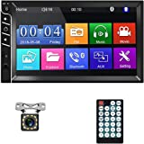 """Double Din Car Stereo Bluetooth Car Radio with 7""""HD Touch Screen Car MP5 Player FM Radio Receiver Support Rear View Camera In"""