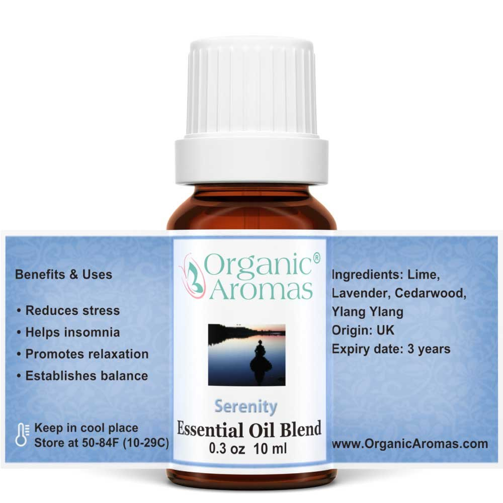 Serenity Essential Oil Blend 100% Pure for Professional Aromatherapy - Therapeutic Grade - Works well with Organic Aroma Diffusers - 10 ml bottles