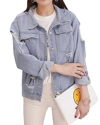 Oversize zerrissene jeansjacke