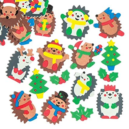 Baker Ross Merry Hedgehog Foam Stickers Set For Children To Decorate And Personalize Xmas Cards Collages