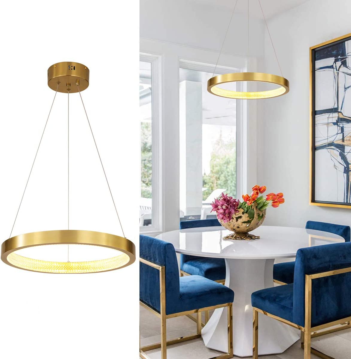 Jaycomey Modern Chandeliers,Circular Ring LED Chandelier,Gold Crystal Pendant Light Fixtures for Living Room Bedroom Restaurant Porch Dining Room Dia 15.7 Inches,Warm White 3000K