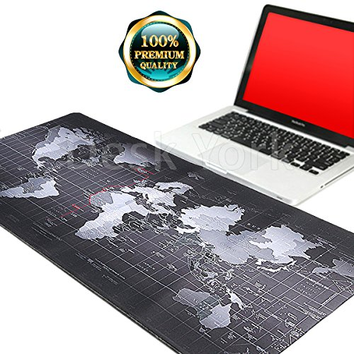 Extra Large Extended World Map Mousepad by Desk York - XXL Gaming Waterproof Mice Mat/Pad for Office or Home - Non-Slip Rubber Base with Stitched Edges