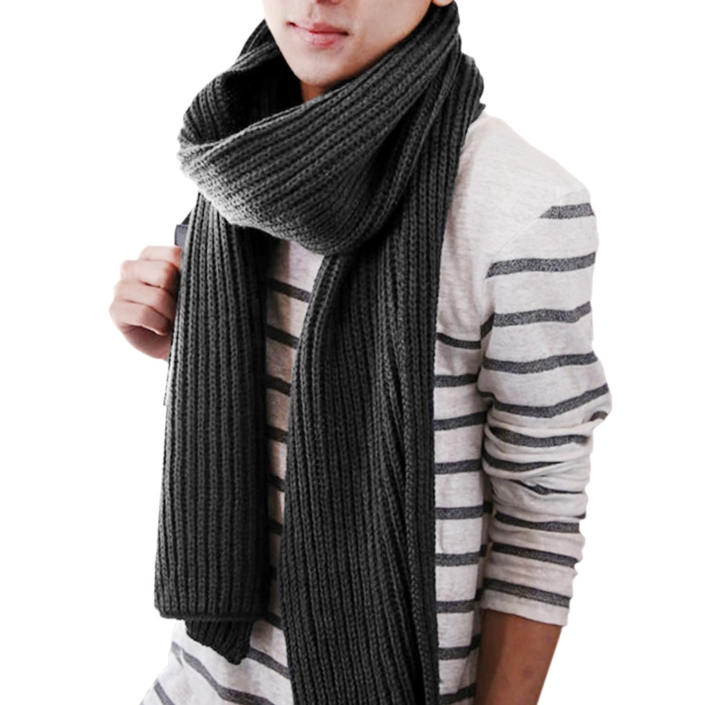 Liying Unisex Fashion Business Leisure Plain Color Knitted Wool Long Scarf Neck Wrap Warmer Neckerchief Gift