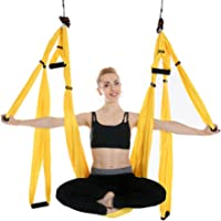 Newdoar Aérienne Yoga balançoire Parachute d'antenne Yoga Hamac Flying Antigravity Inversion de Yoga Fitness, Jaune
