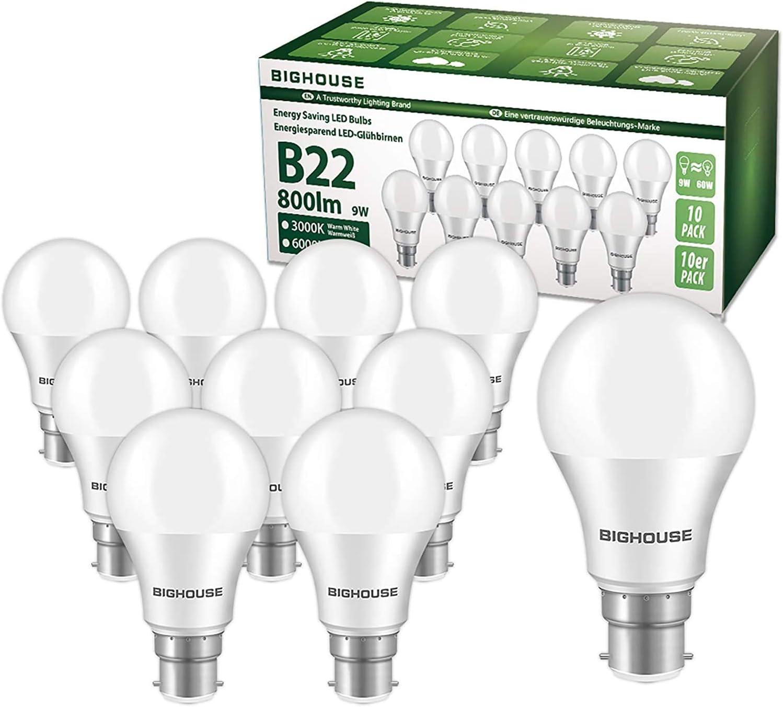 STANBOW A60 E27 Edison Screw LED Light Bulbs 9W 800LM Equivalent 60W Energy Saving Light Bulb E27 Lights Bulbs Energy Class A+ Pack of 5 3000K Warm White
