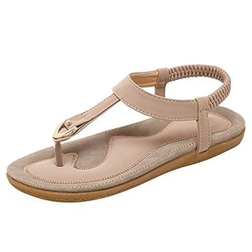 54d62e795e628 Halijack Women s Summer  Amazon.com Stunner Women Summer Comfort T-Strap  Flat Sandals Elastic Beach Bohemian Flip ...