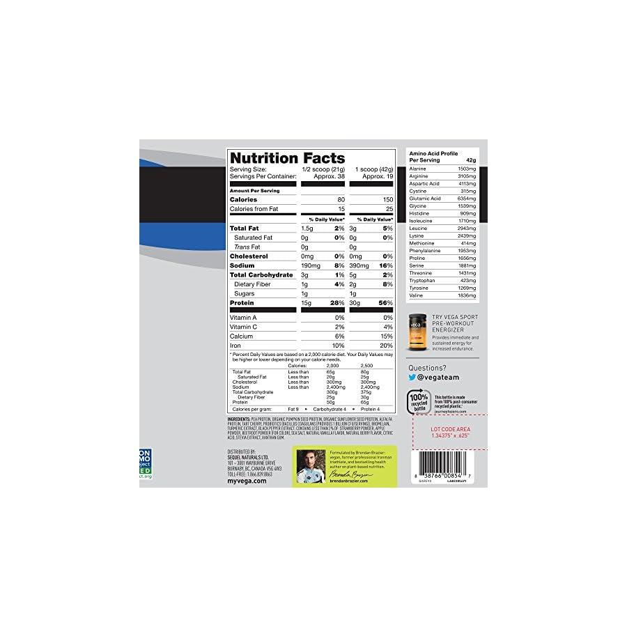 Vega Sport Protein Powder Plant Based Vegan Protein Powder, BCAAs, Amino Acid, Tart Cherry, Non Dairy, Gluten Free, Non GMO (Packaging May Vary)