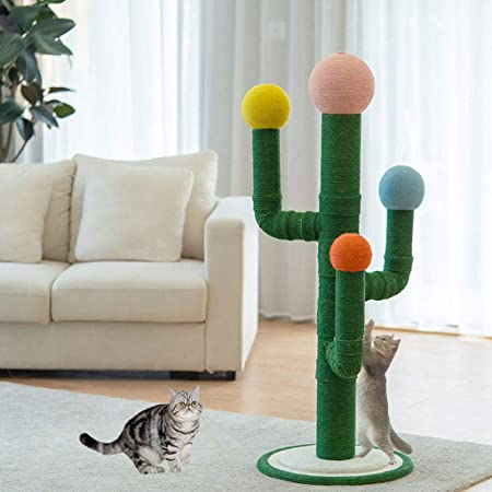 JIN Poste rascador para Gatos Rascador de Gato de Cuerda de sisal de Cactus Alto Estable y Resistente Centro de Actividades de Gatos,Green-50 * 50 * 130cm: Amazon.es: Hogar