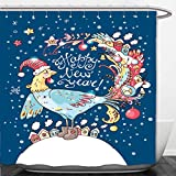 Interestlee Shower Curtain new year vector card with the cute rooster with the decorations and houses on the tail and nice 491288794