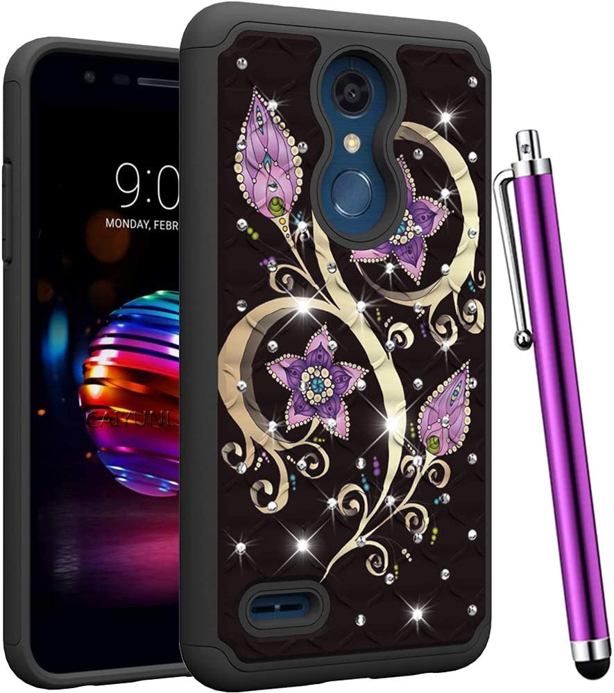 CAIYUNL for LG K30 Case/LG Phoenix Plus/LG Premier Pro LTE/LG Harmony 2 /LG K10 2018 Bling Rhinestone Shockproof Dual Layer Hybrid Protective Heavy Duty Armor Hard Phone Cover-Black Purple Flower
