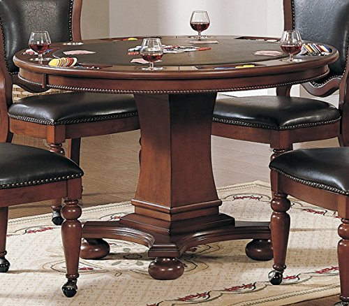 Sunset Trading CR-87148-63-TB Bellagio Dining/Game Table, Reversible Poker Top with Cup Holders, Walnut (Chairs And Table Poker)