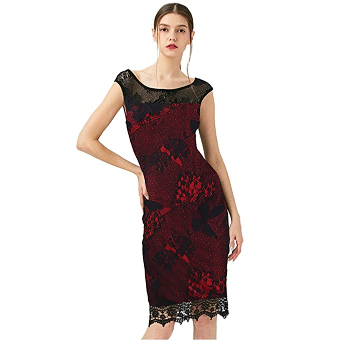 Kenancy Mujer Elegant Vestido Lápiz Midi Falda sin Mangas Vestidos de Fiesta Boda Bodycone Rojo 2XL