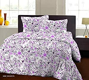 Bombay Dyeing Breeze Plus Collection Cotton Flat Double Bedsheet with 2 Pillow Cover, 274 x 274 cm, Magenta, 5082 A