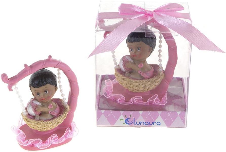 Lunaura Baby Keepsake - Set of 12 Girl Black Ethnic Baby Sitting in Hanging Basket Favors - Pink by Lunaura