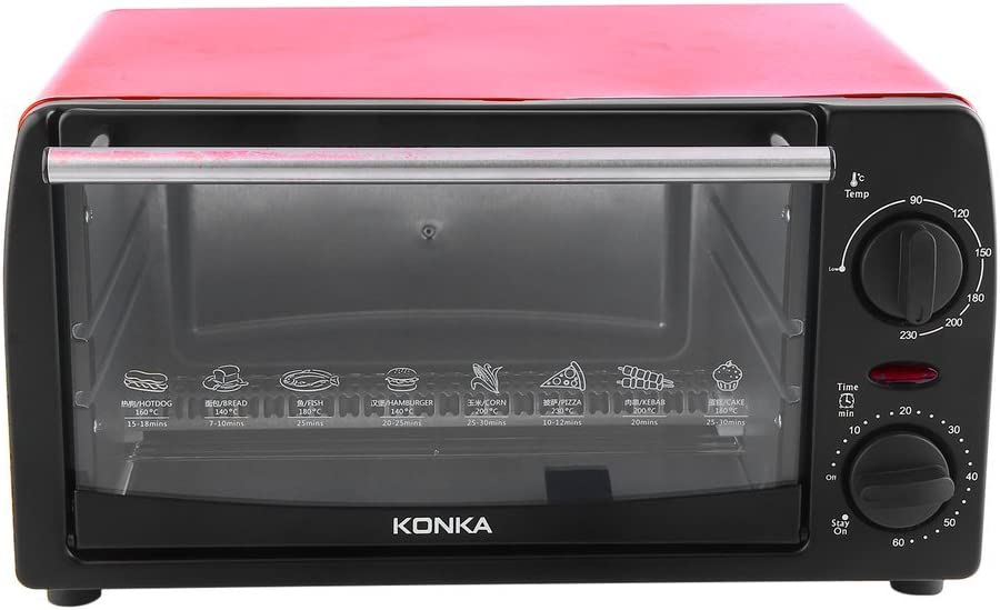 KONKA Toaster Oven Home 12L Mini Baking Oven KAO-1202 1050W With Bakeware,7.8 Pounds,Red