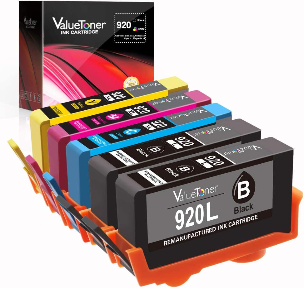Valuetoner Remanufactured Ink Cartridges Replacement for HP 920XL 920 XL High Yield (2 Black, 1 Cyan, 1 Magenta, 1 Yellow) Compatible with HP OfficeJet 6500A 7500A 6500 6000 7000 7500 Printer 5 Pack