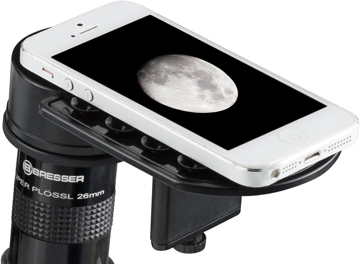 Bresser Deluxe de Smartphone Adaptador para telescopios y microscopios, Negro