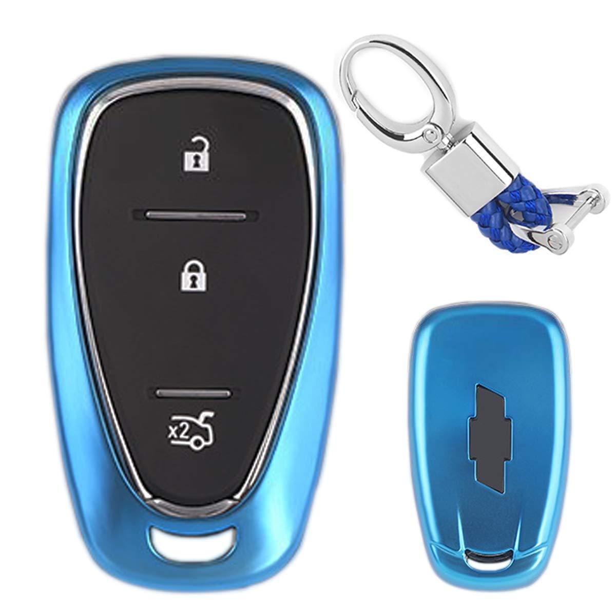 MODIPIM Keyless Entry Remote Cover Soft TPU Key Fob Case with Diamond Tassel Keychain for Chevrolet Camaro Cruze Spark Volt Malibu Bolt Sonic Trax 2//3//4//5-Buttons Smart Key Color Blue