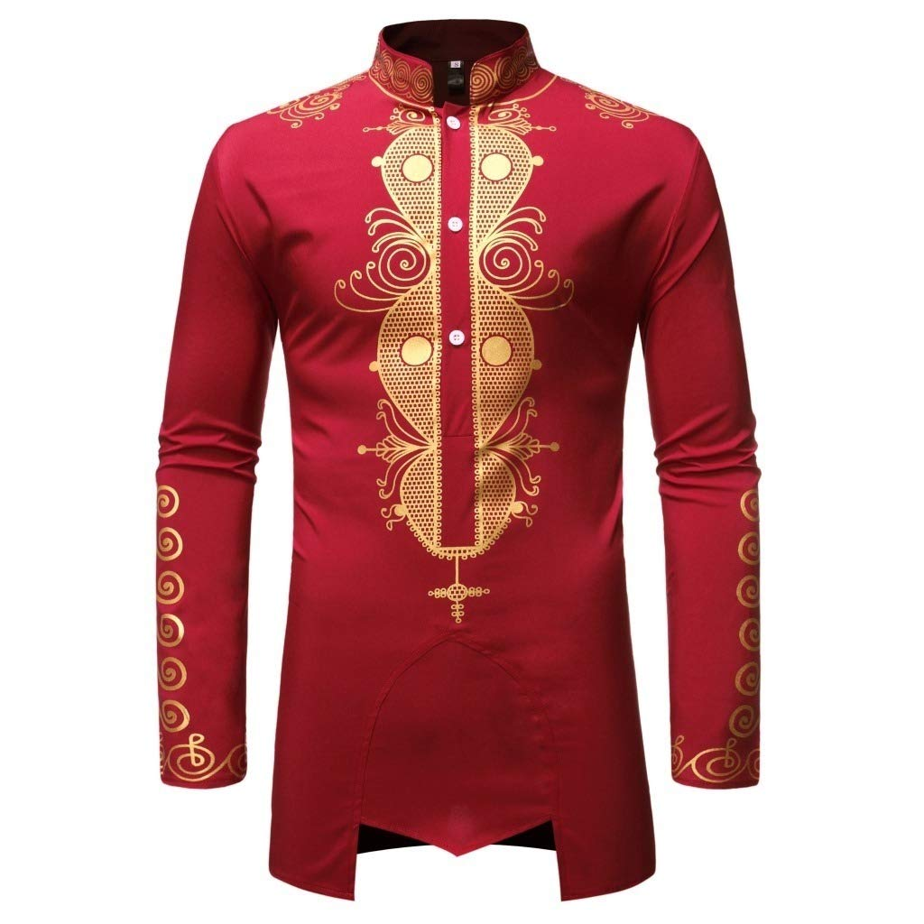 Vska Mens Chief Gilded African Style Shirts Stand up Collar Long-Sleeve Tees Top