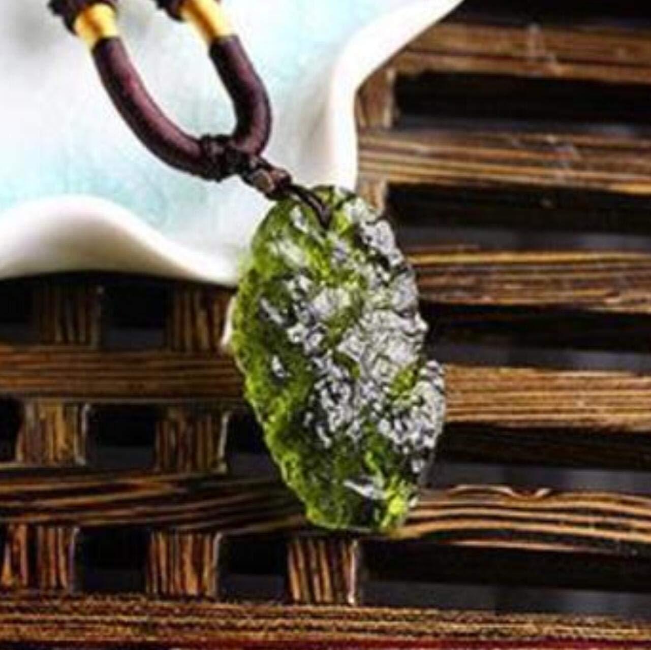 EASTCODE 100% Natural Moldavite Green aerolites Czech Crystal Stone Meteorite Pendant Energy