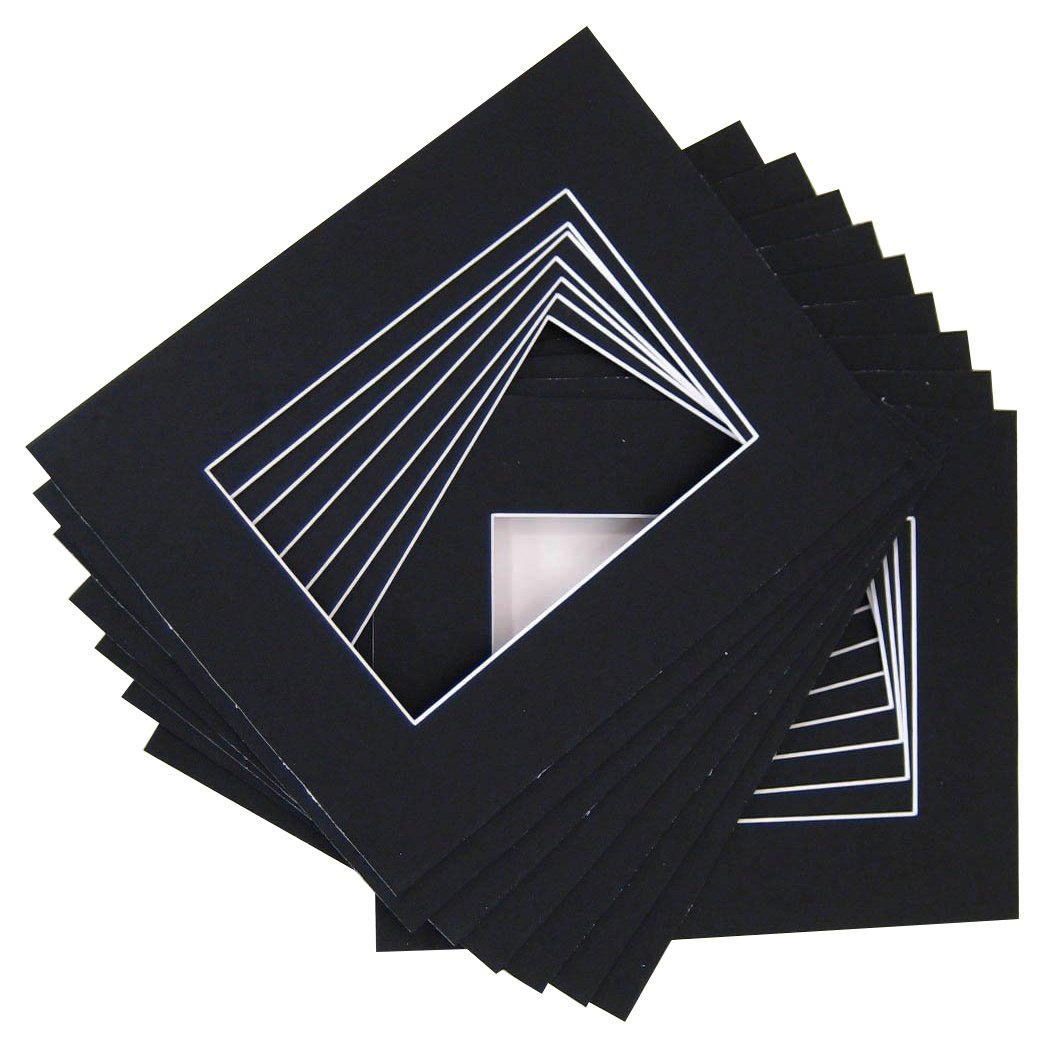 Golden State Art Pack of 20 11x14 BLACK Picture Mats with White Core Bevel Cut for 8x10 Pictures M11140810142w020