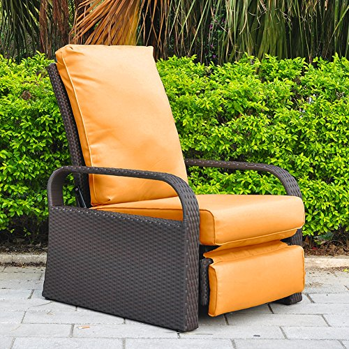 Outdoor Resin Wicker Patio Recliner Chair with Cushions, Patio Furniture Auto Adjustable Rattan Sofa, UV/Fade/Water/Sweat/Rust Resistant, Easy to Assemble (Espresso Wicker + Orange Cushion)