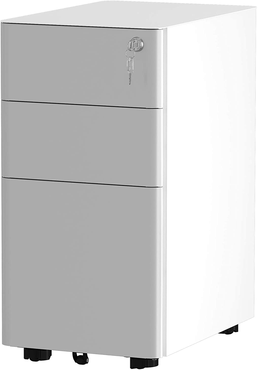 YITAHOME 3-Drawer Metal Filing Cabinet Office Drawers with Keys, Compact Slim Portable File Cabinet, Pre-Built Office Storage Cabinet for A4/Letter/Legal (Gray and White)