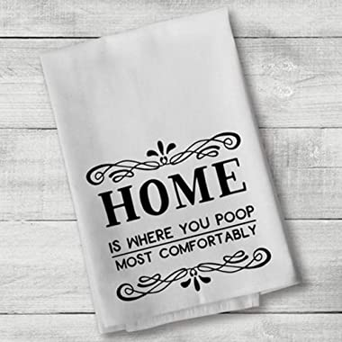 Home is Where You Poop Most Comfortably Hand Bath Towels Washcloths Funny Multipurpose Bathroom Towel for Hand, Face, Gym and Spa White 17x 35 Inch(35x75cm) Colo:Home is Where You Poop