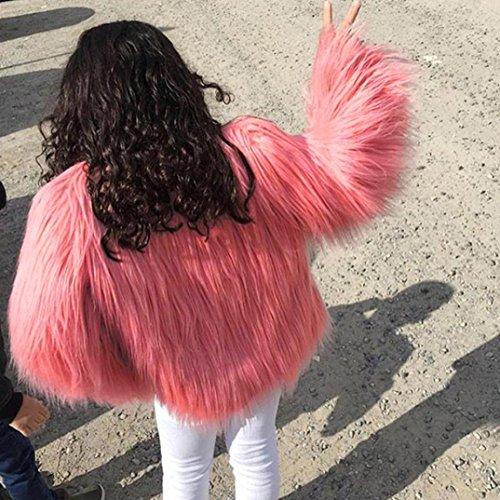 Piel para Parka KaloryWee Sintética Chaqueta Abrigo Mujer Cálida Abrigo Invierno Mujer de de Rosa de a7H0qa