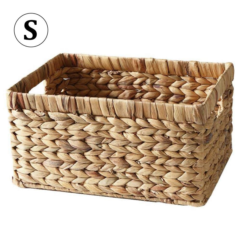 Labyrinen Simple Rustic Style Natural Straw Hand-Woven Rectangular Desktop Storage Basket Wicker Basket Storage Box for Newspaper Books Snacks Sundries Clothes